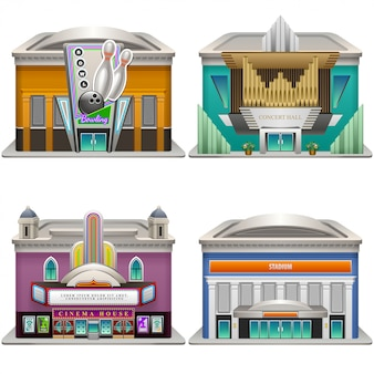 Edifici. bowling, sala concerti, cinema, stadio. illustrazione. .