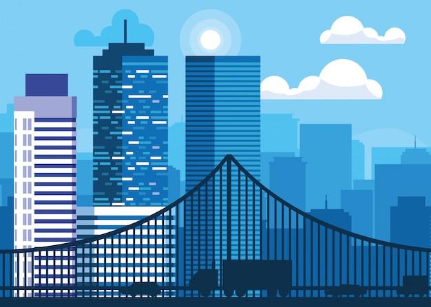 Scena di paesaggio urbano delle costruzioni con il ponte