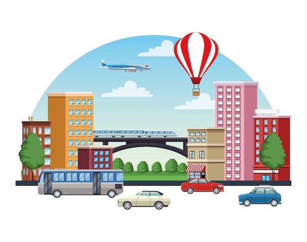 Paesaggio urbano di edifici con mezzi di trasporto