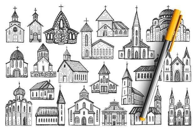 Insieme di doodle di edifici.
