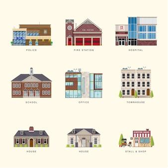 Set di icone di colore piatto di edifici