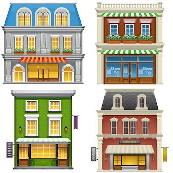 Edifici. alta illustrazione dettagliata degli edifici su sfondo bianco.