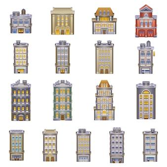 Icone di edifici. dettagliata di un edificio.