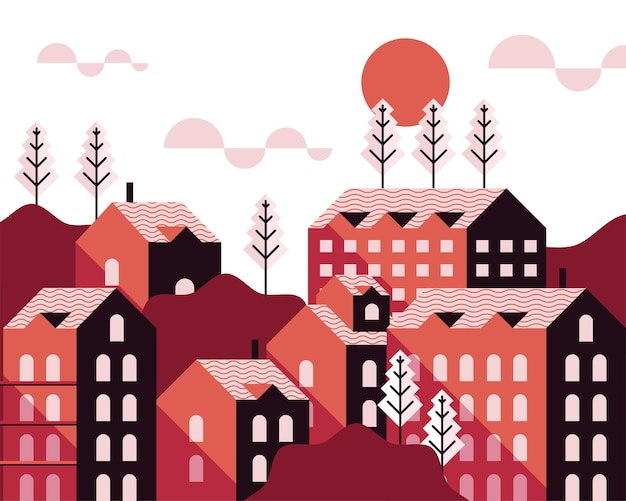 Progettazione minima dell'illustrazione della scena del tramonto dello scape della città delle costruzioni