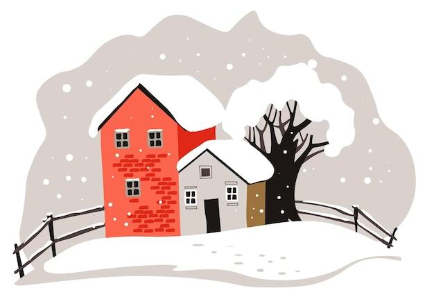 Edifici e alberi coperti di neve, paesaggio innevato e freddo. paesaggio urbano con case, cottage o campagna. all'aperto bufera di neve e fiocchi di neve che cadono, vettore in stile piatto illustrazione