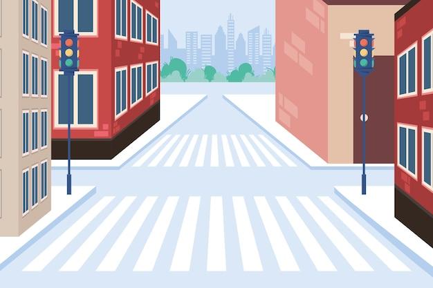 Edifici con strisce pedonali e semafori