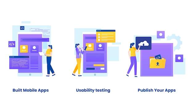 Set di illustrazioni per il concetto di app mobili costruite
