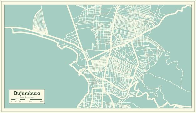 Mappa della città di bujumbura burundi in stile retrò. mappa di contorno. illustrazione di vettore.