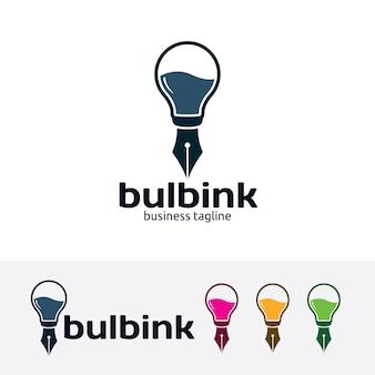 Modello di logo di vettore di inchiostro della lampadina