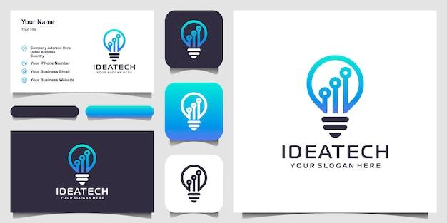 Tecnologia della lampada a bulbo sul design del logo del circuito