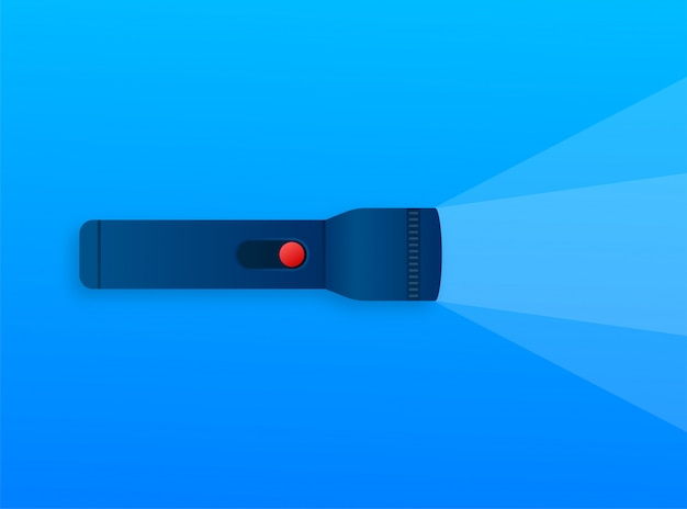 Icona della lampadina. fascio di luce intensa. linterna moderna, ottimo design per qualsiasi scopo. illustrazione di riserva.