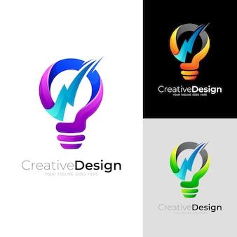 Logo della lampadina e combinazione di design della tensione, icona di alimentazione