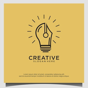 Logo educazione creativa matita lampadina
