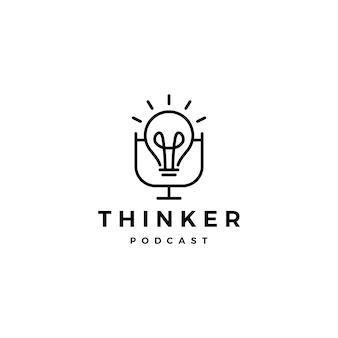 Icona del logo del podcast della lampadina per il canale del video vlog del blog di idee