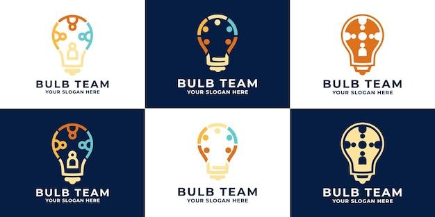 Design del logo della squadra della lampadina e biglietto da visita