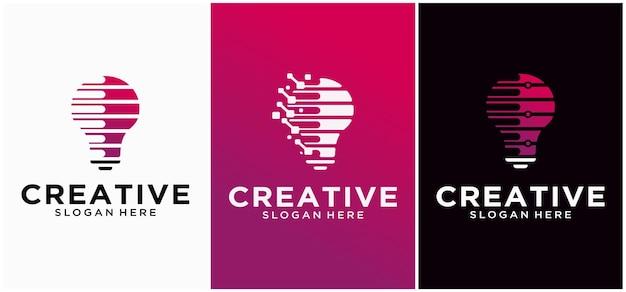 Logo della tecnologia della lampadina con il concetto di pixel logo della lampadina design del logo della tecnologia moderna logo della lampadina