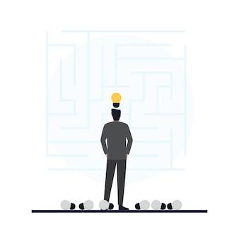 La lampadina in cima agli uomini guarda alla metafora del labirinto della risoluzione dei problemi.