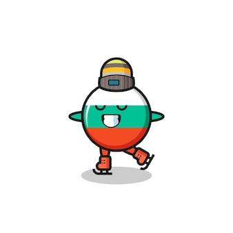 Cartone animato distintivo della bandiera della bulgaria come un giocatore di pattinaggio sul ghiaccio che si esibisce, design in stile carino per maglietta, adesivo, elemento logo