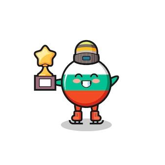 Il fumetto del distintivo della bandiera della bulgaria come un giocatore di pattinaggio sul ghiaccio tiene il trofeo del vincitore, un design in stile carino per t-shirt, adesivo, elemento logo