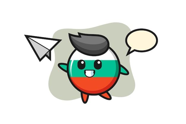 Personaggio dei cartoni animati con distintivo bandiera bulgara che lancia aeroplano di carta, design in stile carino per maglietta, adesivo, elemento logo