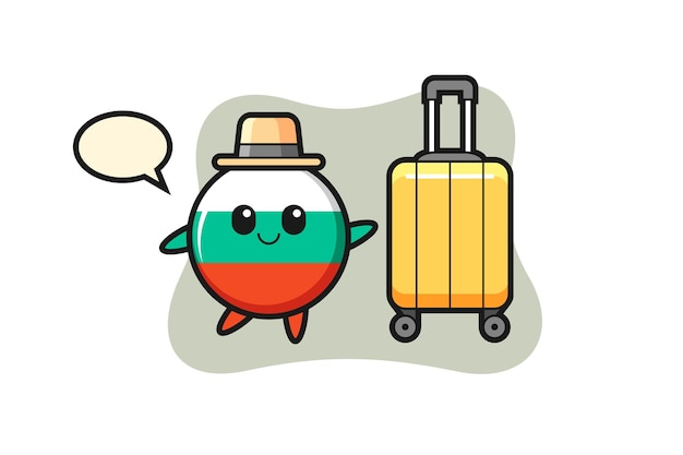 Illustrazione del fumetto del distintivo della bandiera della bulgaria con i bagagli in vacanza, design in stile carino per t-shirt, adesivo, elemento logo