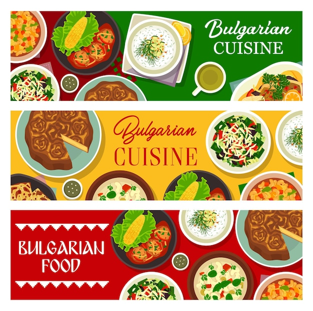 Pasti alimentari bulgari, banner piatto del menu del ristorante