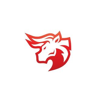 Bull buffalo bison head horn icona vector logo design
