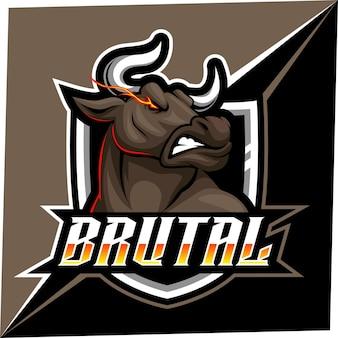 Mascotte bull esport per logo sport ed esport e