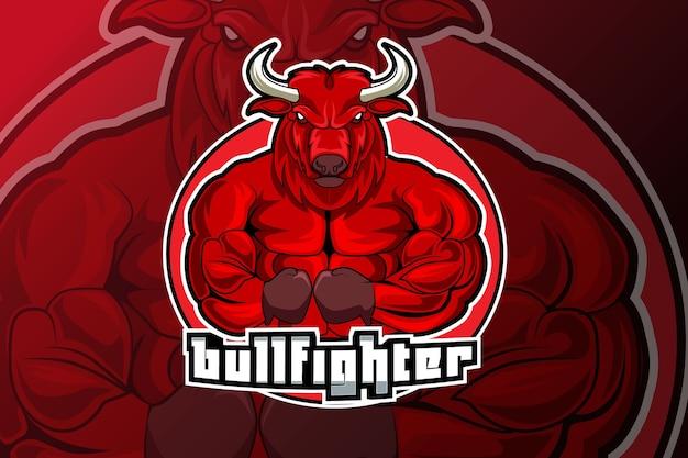 Mascotte del combattente di toro per logo di sport ed esport isolato su oscurità