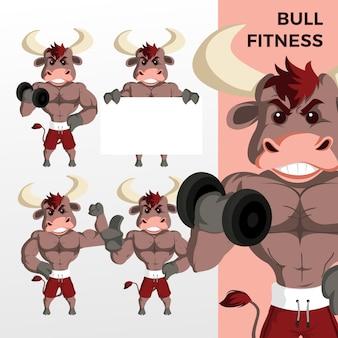 Bull fitness mascotte set di caratteri icona logo illustrazione