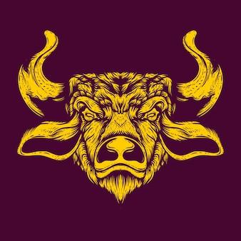 Illustrazione dell'opera d'arte della testa di toro