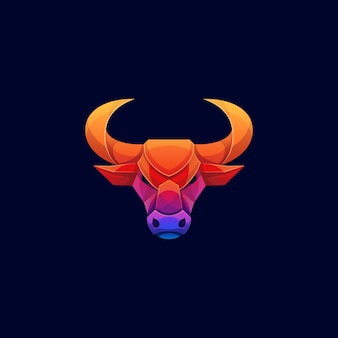 Testa di toro colorata geometrica lowpoly logo