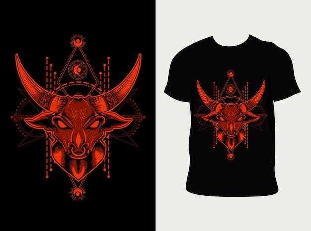 Illustrazione testa di toro con design t-shirt