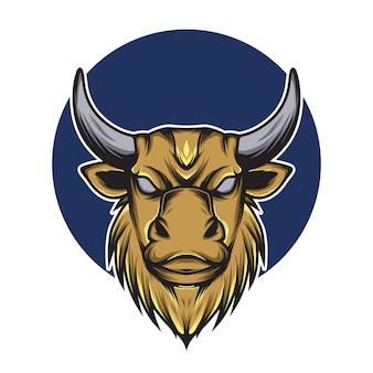 Illustrazione della mascotte logo testa di toro