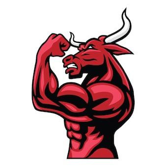 Bull logo character design bodybuilder posa suo corpo muscolare mascotte vettore