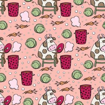 Toro fa zuppa vegetariana una corretta alimentazione seamless pattern