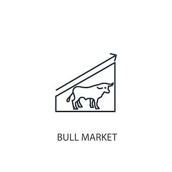 Icona della linea del concetto di mercato toro. illustrazione semplice dell'elemento. disegno di simbolo di struttura del concetto di mercato toro. può essere utilizzato per ui/ux mobile e web