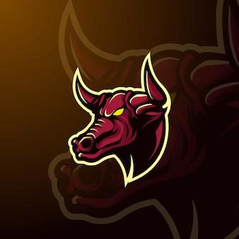Mascotte di toro logo e-sport