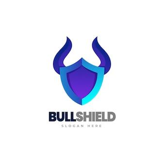 Modello di logo sfumato scudo toro