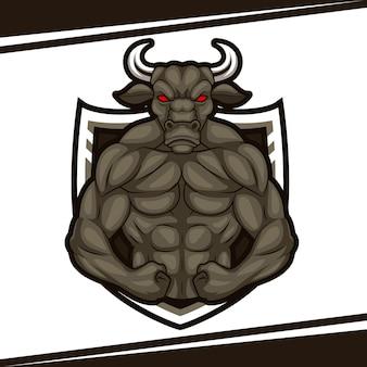 Illustrazione del logo della mascotte del muscolo animale forte del toro