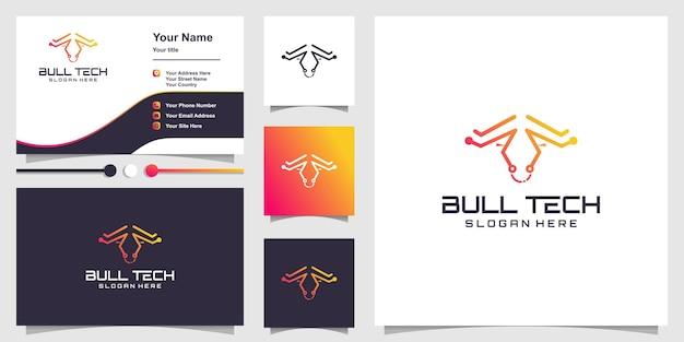 Logo bull tech con concetto astratto creativo vettore premium