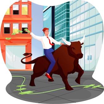 Commerciante di toro in un'illustrazione del mercato azionario