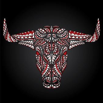 Toro con le corna isolate sul nero