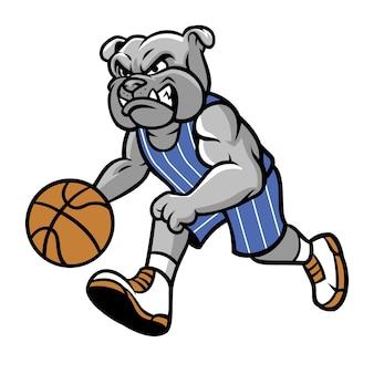 Mascotte di pallacanestro del bulldog isolata su bianco