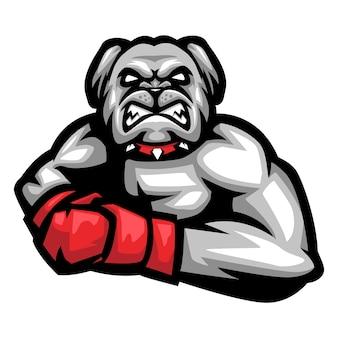 Logo mascotte di bulldog boxer