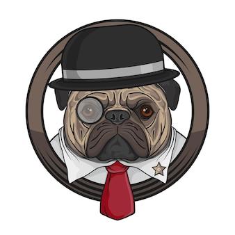 Il fronte del bulldog indossa una cravatta rossa sulla camicia bianca dell'illustrazione del fondo
