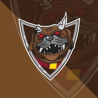 Bulldog head esport mascot logo per giochi esport e sport premium vettore gratuito