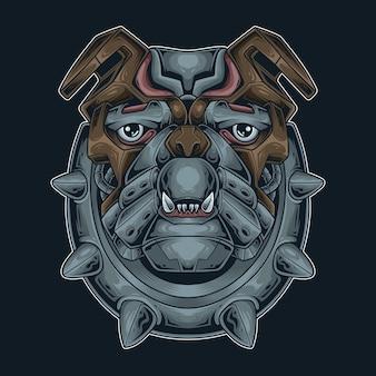 Testa di bulldog mecha cyberpunk