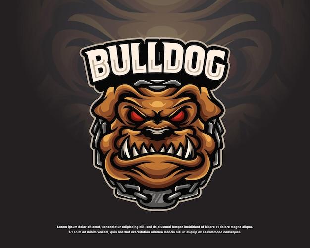 Disegno della mascotte del logo del bulldog