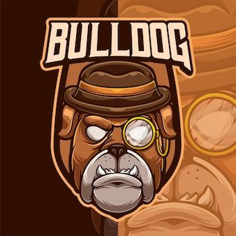 Modello di logo del fumetto della mascotte del bulldog